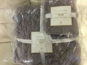 Pottery Barn Teen Chamois Lattice Twin Quilt & Std Sham New! Fig Purple Soft