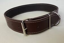"BROWN REAL LEATHER 38mm WIDE DOG COLLAR FITS 19.5"" - 23.5"" NECK COMFORT~="