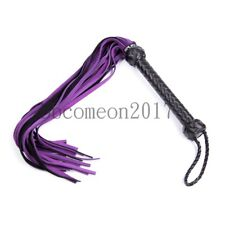 Genuine Leather Whip Flirting Flogger Handle Tassels Restraints Couples Fun Toy