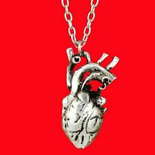 Gothic Detailed Anatomical Heart Zombie Necklace Silver Coloured 50cm Long Chain