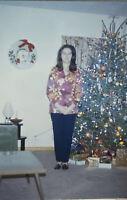 Vintage Photo Slide 1972 Woman Posed Christmas Tree