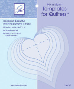 June Tailor Mix'n Match Templates For Quilters 6/Pkg-Heart