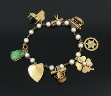 Vintage Pearl Jade & 8 Charm 14K Gold Bracelet with Assorted Charms