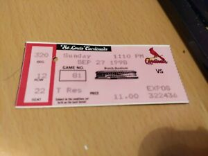 One 1998 Mark McGwire HR 69/70 Baseball Ticket St Louis Cardinals v Expos