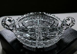 """Vintage Large Bohemia, Sharp Hand Cut Lead Crystal Footed, Candy Dish Bowl 11.5"""""""