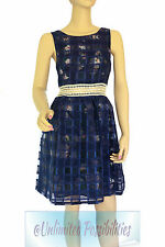 Dotti Floral Grid Ladies Womens Dress Sailor/blue Size 10 Sku452812
