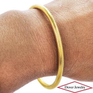 Estate 22K Gold Beautiful Textured Bangle Bracelet 7.5 Grams NR