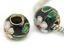 2PCs Black Pink Green Flowers Cloisonne Metal Bead for European Charm Bracelets