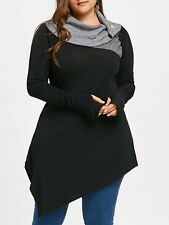 Women's Plus Size Thumb Hole Asymmetrical Tunic Top Longline Top Blouse