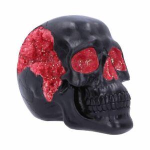 Nemesis Now Geode Skull Black Red Gothic Glitter Skull Figurine 17cm