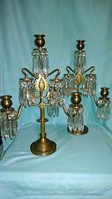 Pair aesthetic movement brass three light candelabra complete