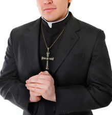 Priest Shirt Front Collar Catholic Fancy Dress Halloween Adult Costume Accessory
