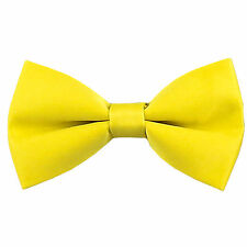 New KID'S BOY'S 100% Polyester Pre-tied Bow tie only Yellow formal wedding