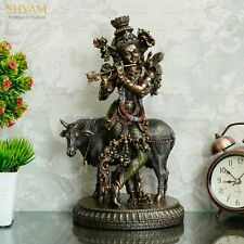Collectible lord Krishna Playing Flute with nandi - Hindu Large Statue for puja