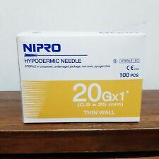 Nipro Hypodermic Needle 20g X1 Thin Wall 09 X25 Mm Sterile Science Lab 1 Box