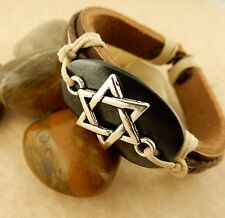 Unisex Adjustable Silver Magen David, Star of David Leather Bracelet Judaica