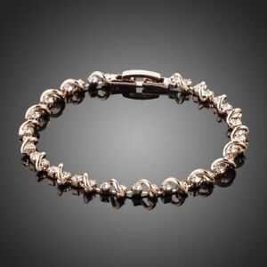 STUNNING ROSE GOLD PLATED BRACELET WITH C/Z 0059