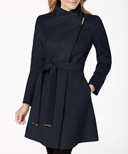 NWT $300 MICHAEL Michael Kors Sapphire Wool-Blend Belted Walker wrap Coat Small