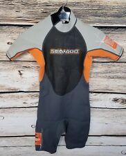 Sea Doo BRP Youth Size 12 Wet Suit Orange Gray Zippered Short Shorts Wetsuit