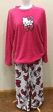 HELLO KITTY TOP & PAJAMA PANTS SET COZY TOASTY PLUSH PINK SIZE XL 16 - 18