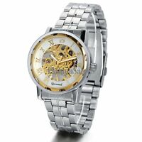 Men Business Roman Numerals Skeleton Mechanical Automatic Wrist Watch Steel Band