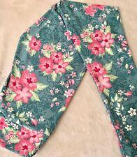 ❤️LuLaRoe OS One Size Leggings Green Pink Flowers Leaves Print NWT 🦄  Unicorn❤️