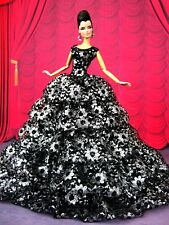 Eaki Evening Black Silver Dress Outfit Gown For Silkstone Barbie Fashion Royalty