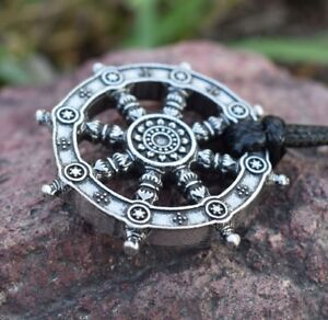 Dharma Wheel of Life Samsara Buddhist Amulet Pendant Talisman Necklace Pendant