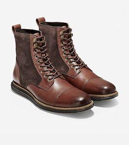 Cole Haan Original Grand Men Cap Toe Boots II Brown Black Leather Suede #C29456
