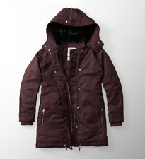 NWT Abercrombie & Fitch Womens Burgundy Shiny Parka Puffer Jacket Coat,Size: M
