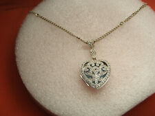 18K Solid White Gold 1/4 ct Diamond Heart Locket With Diamond Necklace 8.5 Grams