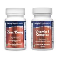 Zinc 15mg 120 Tablets + Vitamin B Complex 120 Tablets | For General Health