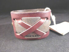 Stunning Genuine Leather / Metal Diesel Designer Mens Brown Cuff Bracelet BNWT