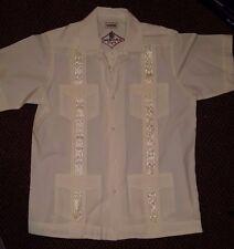 Guayabera Cuban Caribbean Cruise Leisure Embroidered Cotton Blend Men's L Large