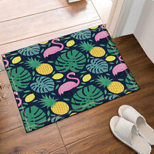 Pineapple and palm leaves Absorbent Flannel Bathroom Floor Shower Mat Non-slip