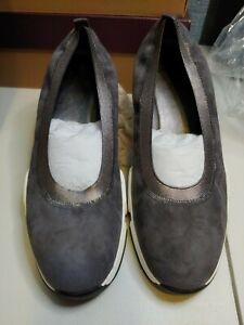 New Ladies 10 M Hannah Slip-on Johnston & Murphy Shoes pewter Italian kid suede
