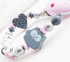 Schnullerkette mit Namen ★ EULE + Herz ★ Mädchen Baby ★ rosa Holz Geschenk