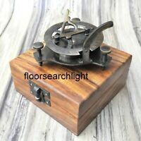 Antique Brass SUNDIAL Compass With Handmade Wooden Box Nautical Maritime Gift