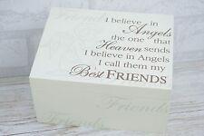 "Berevement Memory Box Keepsakes Chest Best Friends ""I Believe in Angels"" F0802A"