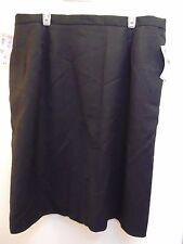 EVAN-PICONE Petite size 22WP Black 100% Wool Skirt pockets partial elastic waist