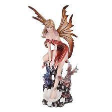 Beautiful Erathia Fairy and Dragon Legend Figurine Statue Decor Fantasy Land