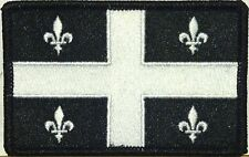 QUEBEC CANADA Flag Iron-On Tactical Patch White & Black Tactical Black Border #7