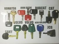 (15) Operator Training Keys CAT, Bobcat, Volvo, JD, Komatsu, JCB, New Holland,,