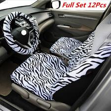 Short Plush Luxury Zebra Seat Covers Universal Fit Most Car Seats Steering 12Pcs
