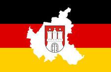 PREMIUM Autoaufkleber Fahne Deutschland mit Hamburg Flaggen Aufkleber Sticker