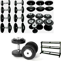 10 Prs Commercial Gym Dumbbells, Fixed Weight 2½-25KG, Pro Discs, + Storage Rack