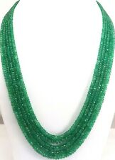 """375 ct+ Beautiful Designer 5 Strand Natural Emerald Beads 20"""" Necklace AAA1"""