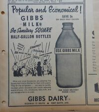1953 newspaper ad for Gibbs Dairy Ft. Smith Arkansas - Sanitary Square Bottles