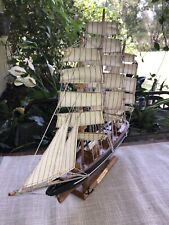 """Vintage Cutty Sark Wooden Ship Boat Model Fully Assembled 17""""X 16"""""""