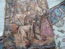 #77Xx vtg Tapestry 58'' l x 20'' w wall hanger Man Women Dog Horse Trees